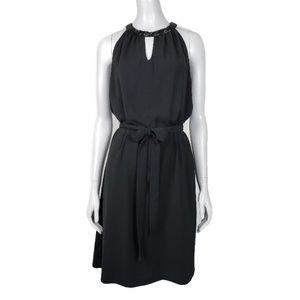 DKNYC Holiday Halter Look Black Bead Dress Medium